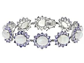 Rainbow Moon Stone Sterling Silver Bracelet 11.77ctw