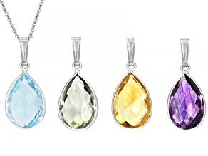 Mixed-Gemstone Rhodium Over Sterling Silver Set of 4 Pendants With Chain 20.00ctw