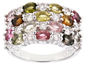 Multi Tourmaline Rhodium Over Silver Ring 3.30ctw