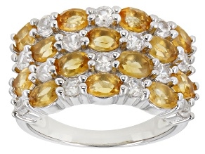 Madiera Citrine Rhodium Over Silver Ring 3.15ctw