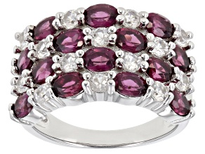 Raspberry Rhodolite Rhodium Over Silver Ring 3.45ctw