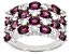 Raspberry Rhodolite Rhodium Over Silver Ring 3.45ctw