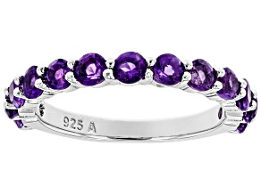 Purple Amethyst Rhodium Over Silver Band Ring 1.45ctw