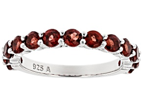Red Garnet Rhodium Over Silver Band Ring