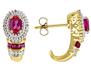 Lab Pink Sapphire 14k Yellow Gold Over Sterling Silver Earrings 1.33ctw