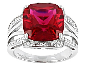 Lab Created Red Ruby  Rhodium Over Sterling Silver Ring 8.50ct