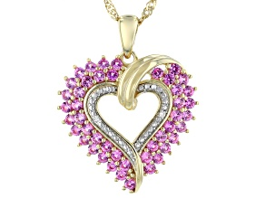 "Lab Created Pink Sapphire 14k Gold Over Silver Pendant With 18"" Chain 1.65ctw"