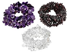Garnet, Amethyst  & Crystal Quartz Set of 3 Stretch Bracelet