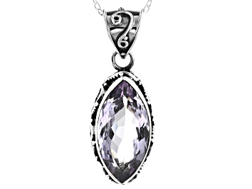 Picture of Purple Amethyst Sterling Silver Solitaire Pendant With Chain 6.00ctw
