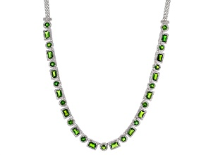 Chrome Diopside Rhodium Over Sterling Silver Necklace 17.10ctw