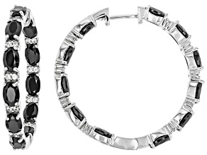 Black Spinel sterling silver hoop earrings 11.94ctw