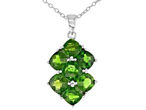 Chrome Diopside Rhodium Over Sterling Silver Pendant With Chain 4.20ctw