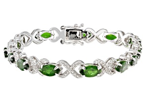 Chrome Diopside Rhodium Over Sterling Silver Bracelet 9.60ctw