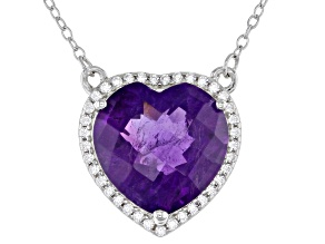 Heart Shape Amethyst  Rhodium Over Sterling Silver Heart Necklace 4.75ctw