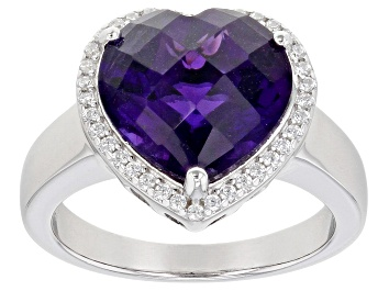 Picture of Heart Shape Amethyst Rhodium Over Sterling Silver Heart Ring 4.70ctw