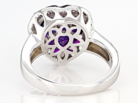 Heart Shape Amethyst Rhodium Over Sterling Silver Heart Ring 4.70ctw