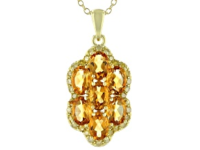 Citrine18k Yellow Gold Over Sterling Silver Pendant With Chain 2.70ctw