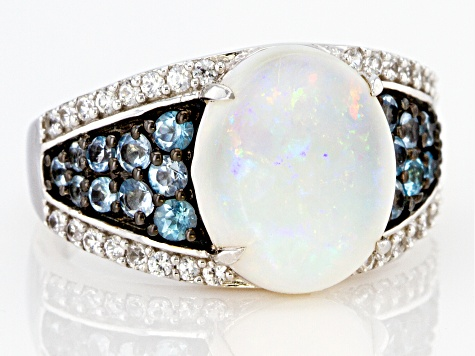 Australian Opal Rhodium Over Sterling Silver Ring 0.80ctw