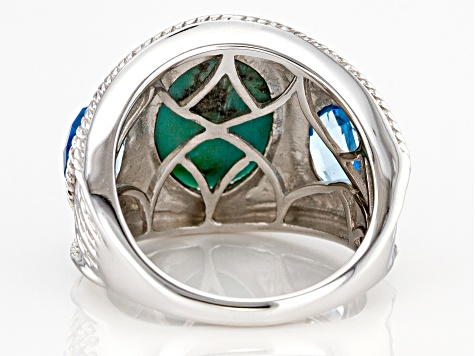 Blue Turquoise Rhodium Over Sterling Silver 2.32ctw
