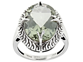 Green Prasiolite Sterling Silver Solitaire Ring