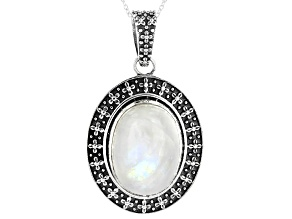 Rainbow Moonstone Sterling Silver Pendant With Chain 20x15mm