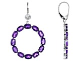 African Amethyst Rhodium Over Sterling Silver Earrings 10.00ctw