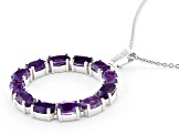 African Amethyst Rhodium Over Sterling Silver Pendant With Chain 4.80ctw