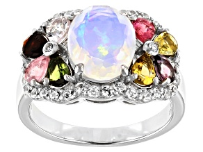 Multi Color Ethiopian Opal Rhodium Over Silver Ring 1.60ctw