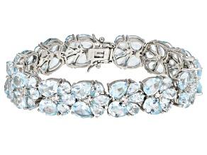 Blue Topaz Rhodium Over Sterling Silver Bracelet 46.50ctw