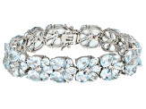 Blue Topaz Rhodium Over Sterling Silver Bracelet 46.50ctw