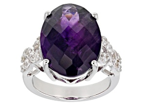 Purple Amethyst Rhodium Over Sterling Silver Ring 8.65ctw