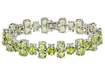 Picture of Green Peridot Rhodium Over Sterling Silver Bracelet 33.70ctw
