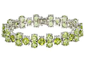 Green Peridot Rhodium Over Sterling Silver Bracelet 33.70ctw
