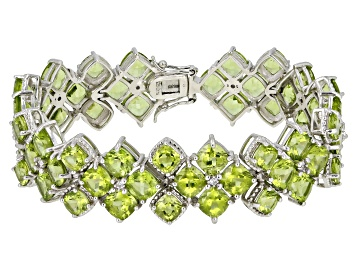 Picture of Green Peridot Rhodium Over Sterling Silver Bracelet 43.20ctw