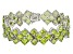 Green Peridot Rhodium Over Sterling Silver Bracelet 43.20ctw