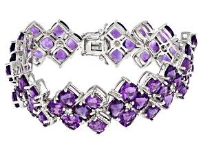 Purple Amethyst Rhodium Over Sterling Silver Bracelet 40.20ctw