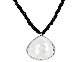 Black Spinel Rhodium Over Sterling Silver Necklace with Pendant Approximately 55.00ctw