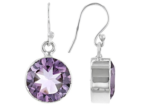 Rose de France Amethyst Rhodium Over Silver Earrings 8.00ctw