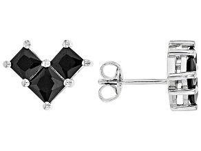 Black Spinel Rhodium Over Sterling Silver Earrings 1.70ctw