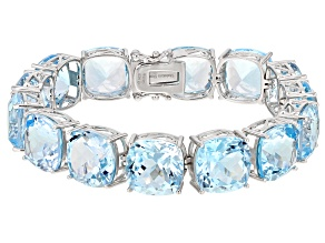 Blue Topaz Rhodium Over Sterling Silver Bracelet 70ctw