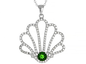 Green Russian Chrome Diopside Rhodium Over Sterling Silver Pendant With Chain 1.88ctw