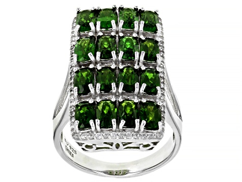 Green Russian Chrome Diopside Rhodium Over Sterling Silver Ring 5.52ctw