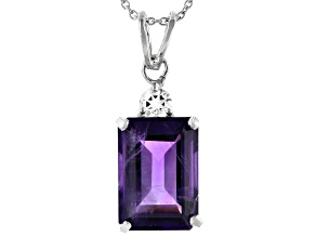 Purple Amethyst Rhodium Over Sterling Silver Pendant With Chain 6.01ctw