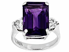 Purple Amethyst Rhodium Over Sterling Silver Ring 6.22ctw
