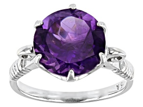 African Amethyst Rhodium Over Sterling Silver Ring 4.15ctw
