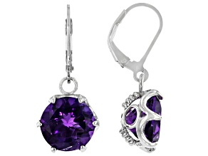 African Amethyst Rhodium Over Sterling Silver Earrings 8.30ctw