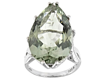 Picture of Green Prasiolite Rhodium Over Silver Ring 18.50ct