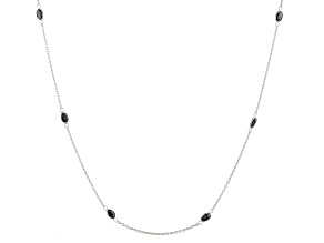 Black Sapphire Rhodium Over Sterling Silver Station Necklace 5.40ctw