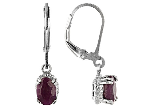 Ruby, Sapphire, And Emerald Rhodium Over Silver Earrings Set Of 3 5.00ctw