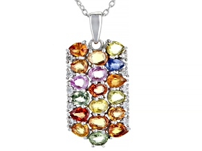 3.98ctw Mix Shape Multi-Sapphire Rhodium Over Sterling Silver Pendant W/Chain